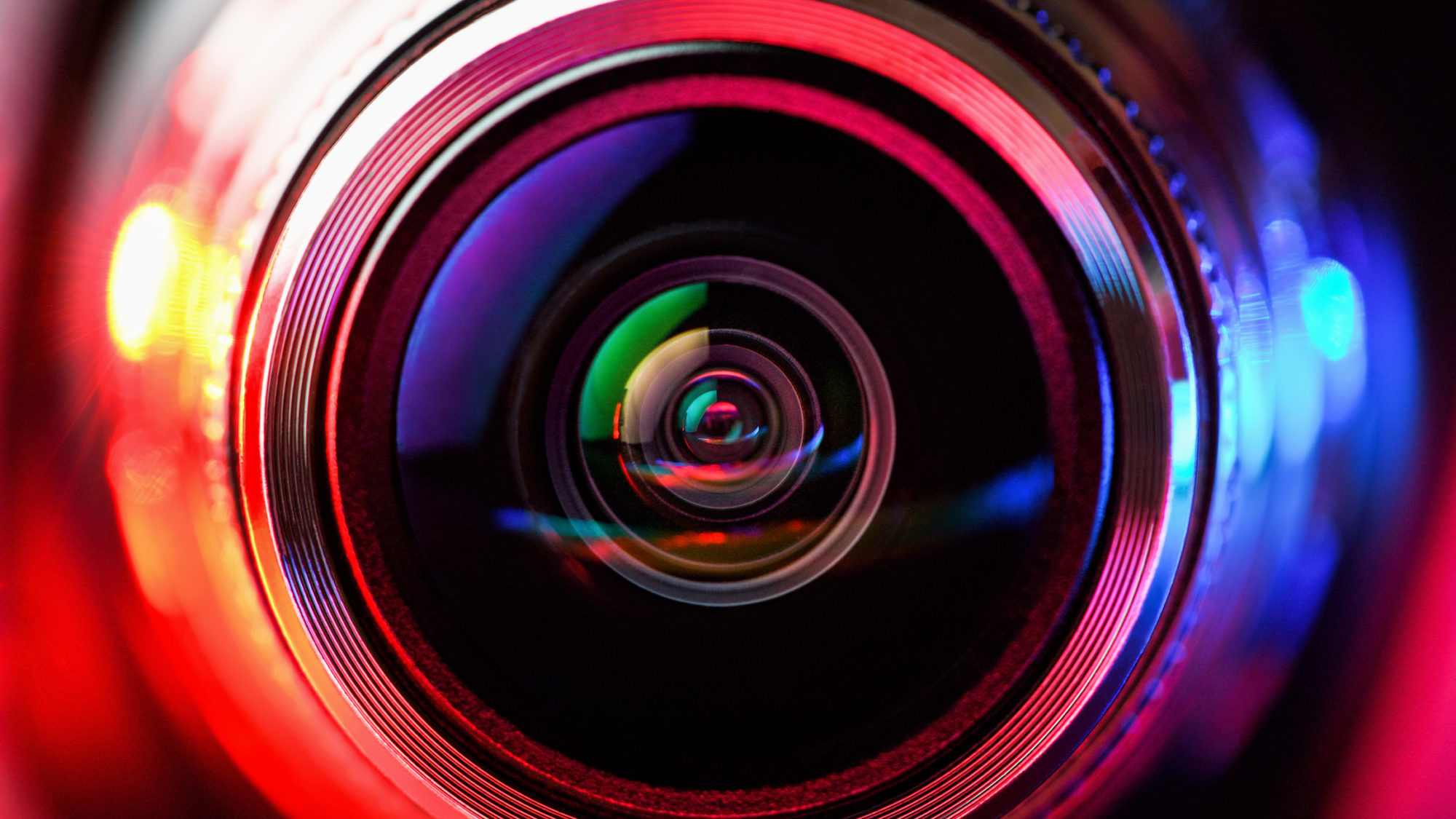 Camera lens with red and blue backlight, Macro photography lenses, Horizontal photography